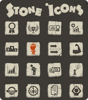 Success web icons on stone blocks in the stone age style for user interface design