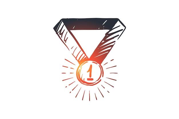 성공, 승자, 상, 챔피언, 승리 개념. 손으로 그린 된 우승자 트로피, 넘버 원 컨셉 스케치.