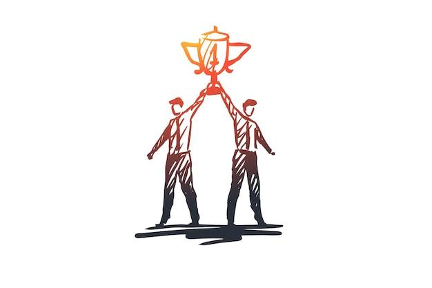성공, 승자, 리더십, 경쟁, 트로피 개념. 우승자 컵 개념 스케치와 함께 손으로 그려진 된 사업가.