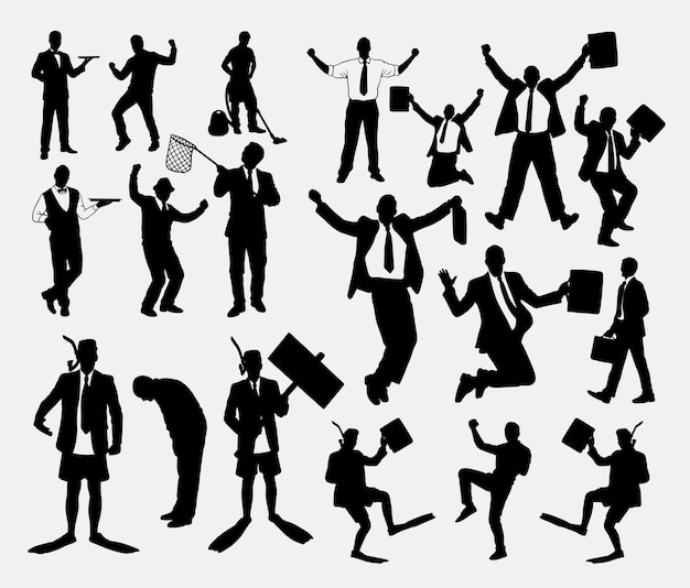 Success winner and working businessman silhouette