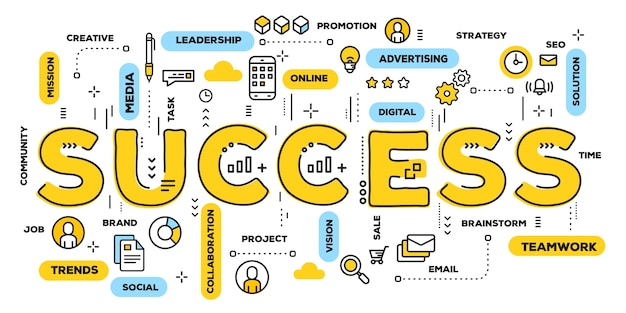 Success, yellow word lettering typography with line icons and tag cloud