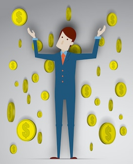 Success of young businessman with coin background in 3d vector illustration
