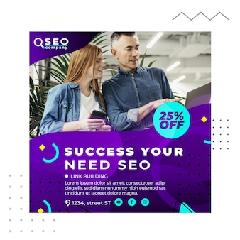 Success your need seo square flyer template