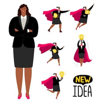 Successful afroamerican businesswoman - new idea vector concept