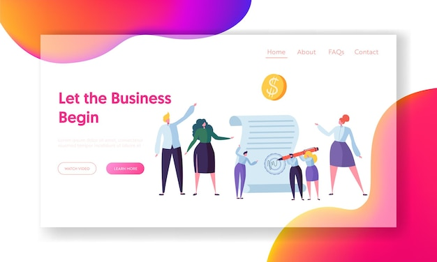 Successful agreement of business cooperation landing page.