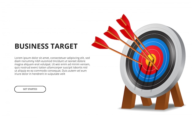 Successful archery arrow on 3d target board. business goal achievement