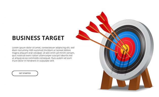Successful archery arrow on 3d target board. business goal achievement