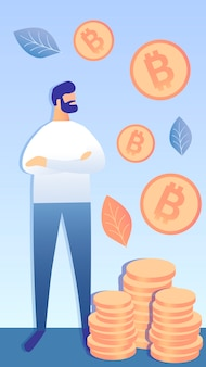 Successful bitcoin investment vector illustration