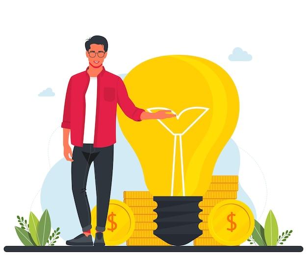 成功したビジネスバンカーは、大きな電球とコインの隣に立っています。 、新しい投資を探して、仕事を始めます。時は金なり。ビジネスコンセプトイラスト。ビジネスアイデア。