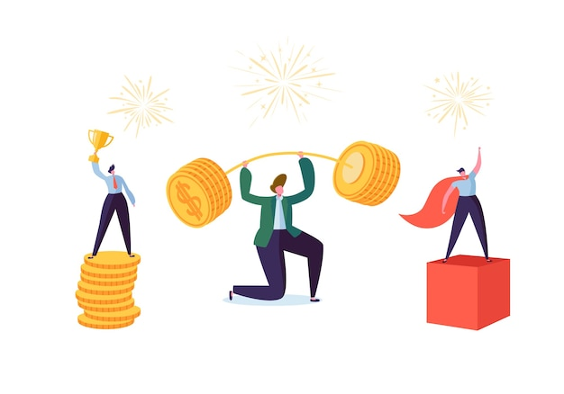 Successful business characters. businessman lifting up barbell with coins. man with golden cup. goal achievement financial success concept.