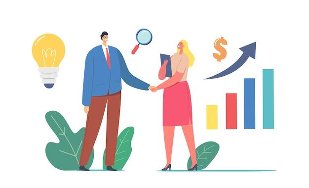 成功するビジネスコラボレーション。手を振る実業家や実業家のキャラクター