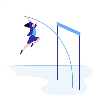 Successful business female overcome jump up   flat illustration