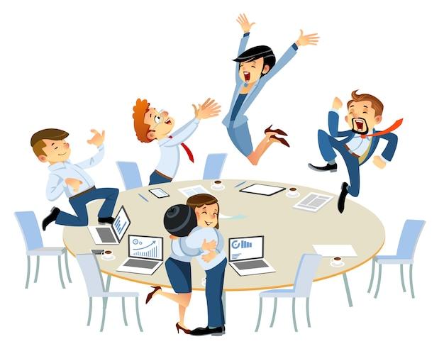 オフィスで働く人々の成功するビジネスグループ。ビジネスの勝者、勝利のジェスチャーを祝い、腕を上げ続け、積極性を表現します。漫画のスタイルは、白で隔離。