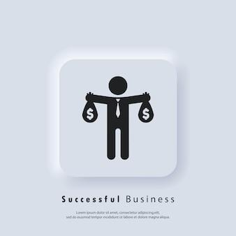 Значок успешного бизнеса. логотип бизнесмена. деловой человек служит. вектор. значок пользовательского интерфейса. белая веб-кнопка пользовательского интерфейса neumorphic ui ux. неоморфизм