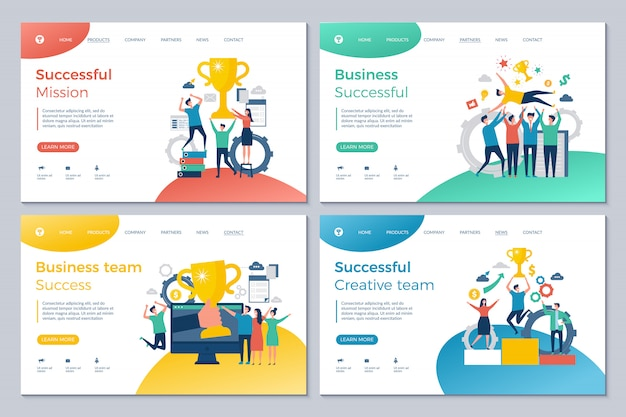 Successful business landing. web pages design template happy finance investors manager director winning rewards good deal vector