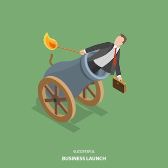 Successful business launch vector flat isometric illustration.