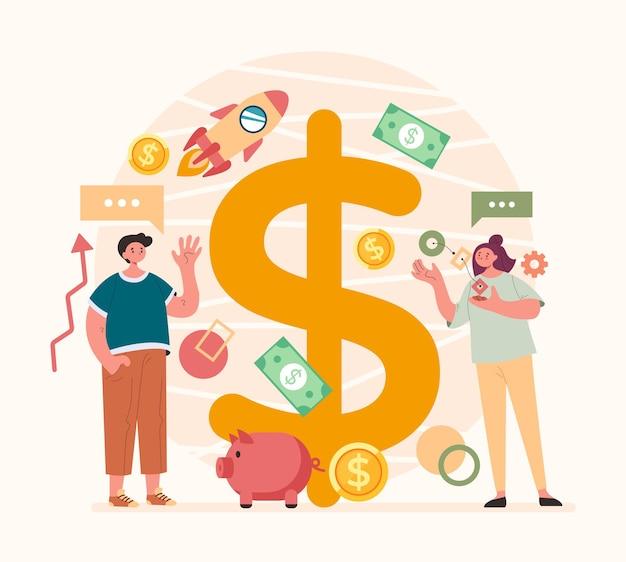 Успешный бизнес, зарабатывающий деньги, команда запускает концепцию
