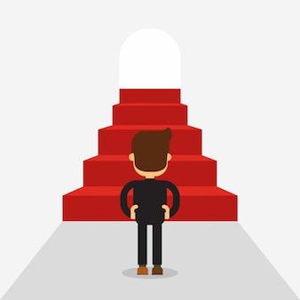 Successful business man climbing steps