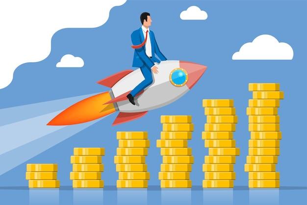 上昇するコイングラフでロケットで飛んで成功したビジネスマン。飛行宇宙船のビジネスマン。新規事業またはスタートアップ。アイデア、成長、成功、スタートアップ戦略。フラットベクトルイラスト