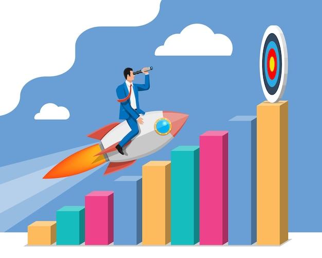 목표까지 가는 그래프에 로켓을 타고 날아가는 성공적인 사업가. 비행 우주선에 사업가입니다. 새로운 사업이나 시작. 아이디어, 성장, 성공, 시작 전략. 평면 벡터 일러스트 레이 션