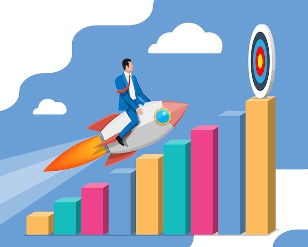 成功したビジネスマンが目標に向かってグラフ上のロケットで飛んでいます。飛行宇宙船のビジネスマン。新規事業またはスタートアップ。アイデア、成長、成功、スタートアップ戦略。フラットベクトルイラスト