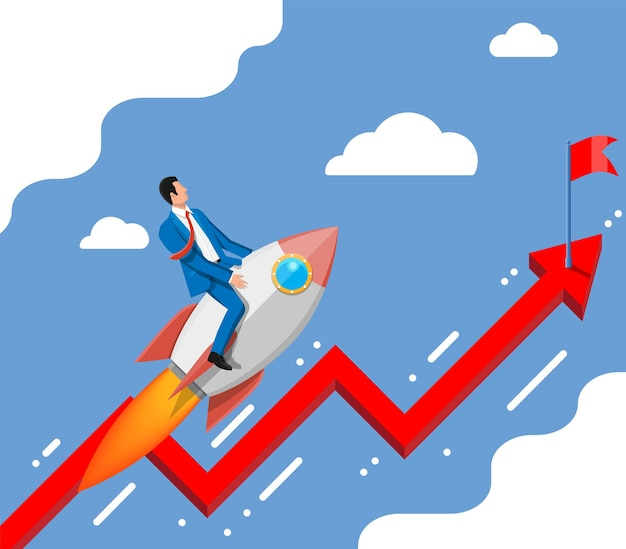Successful business man flying on rocket on graph going up to flag. businessman on flying space ship. new business or startup. idea, growing, success, start up strategy. flat vector illustration