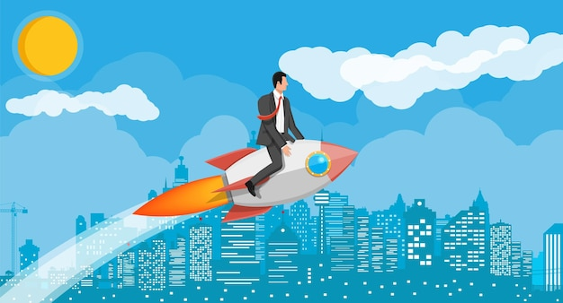 Successful business man flying on rocket on graph going up to target