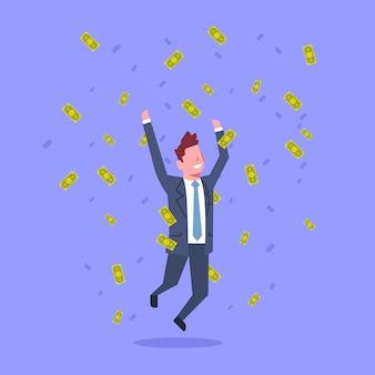 Successful business man jump throwing money rich businessman financial success concept