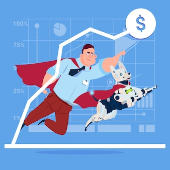 Successful business man in red cape with robot dog over finance graph up