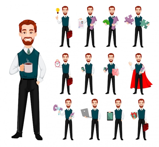 Successful business man, set of thirteen poses