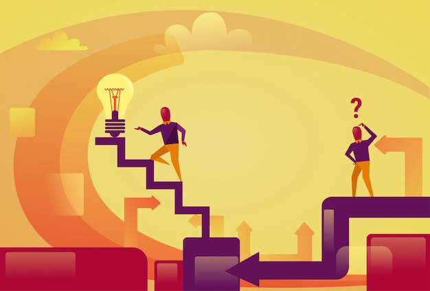 Successful business man walking upstairs to light bulb new idea innovation concept