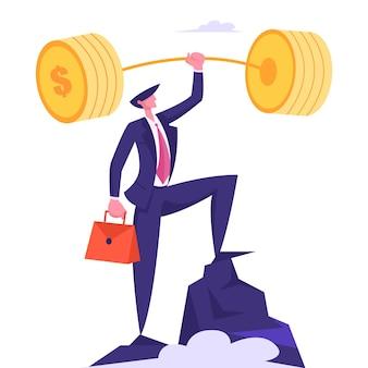手にブリーフケースを持つ成功したビジネスマンはゴールドバーベルを保持します