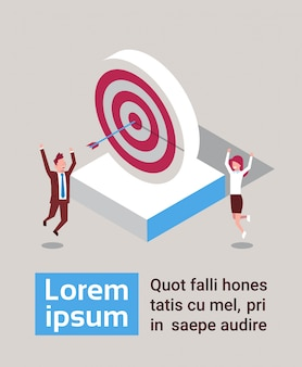 Successful business man and woman hit arrow in target success strategy isometric