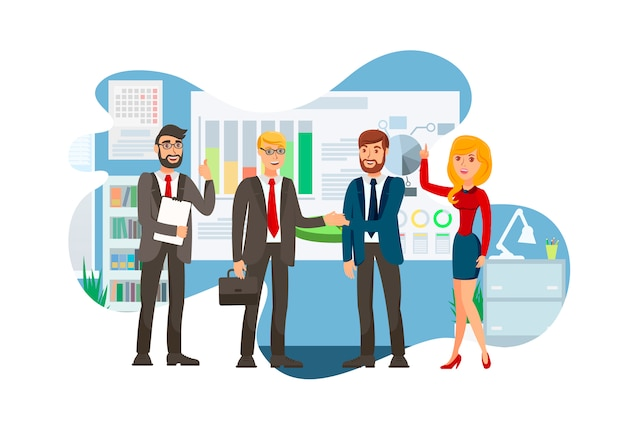 Successful business negotiation flat illustration