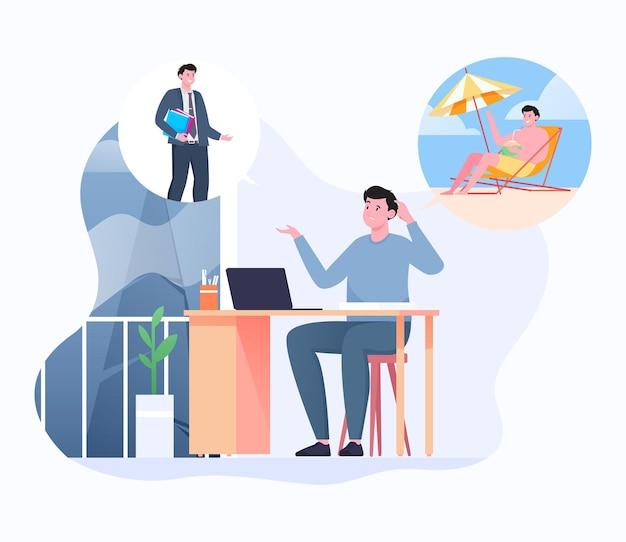 Успешный бизнес или уйти в отпуск иллюстрации
