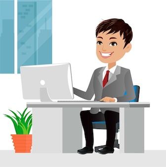Успешные деловые люди характер, работающий на портативном компьютере за офисным столом иллюстрация бизнес-концепции
