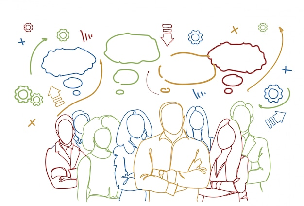 Successful business people group. teamwork group of businesspeople team hand drawn