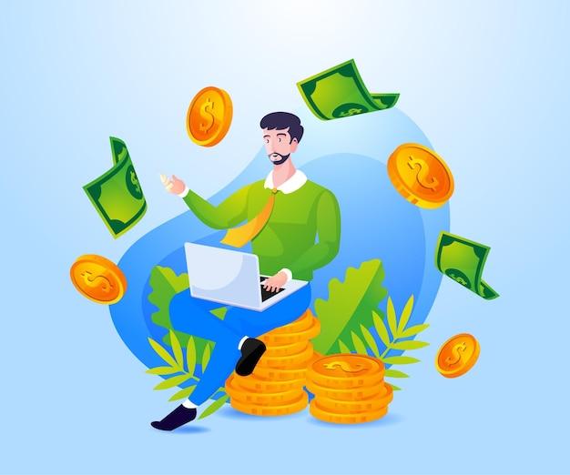 成功したビジネスの人々はラップトップのシンボルでたくさんのお金を稼ぐ