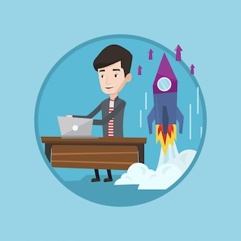 Successful business start up vector illustration.