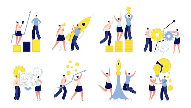 成功した起業。人々はイノベーションの開発を後押しし、アイデアを開始し、加速させます。現代の創造的なチームのベクトル図です。スタートアップのチームワーク、戦略のアイデア、パートナーシップ
