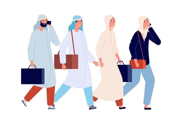 成功したビジネスチーム。アラブの女性が働く、男性女性のオフィスマネージャー。一緒に歩いている友達、友情やチームワークのベクトル図。チームの女性と男性、チームワークのビジネスマンの実業家