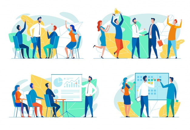 Successful business team flat vector concepts set
