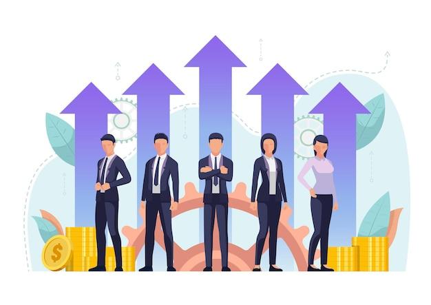 成長財務の矢と一緒に立っている成功したビジネスチーム。効果的なビジネスチームの概念。