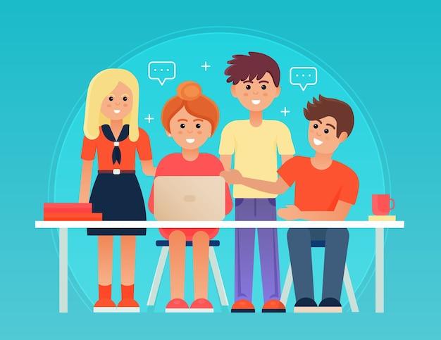 会議室のイラストでオフィスの机の近くで幸せな若い男と女と成功したビジネスチームワークの概念