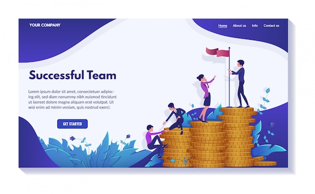 Successful business website concept, set of  illustrations