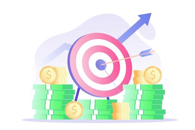ターゲットの矢とコインとお金の山で成功するビジネス