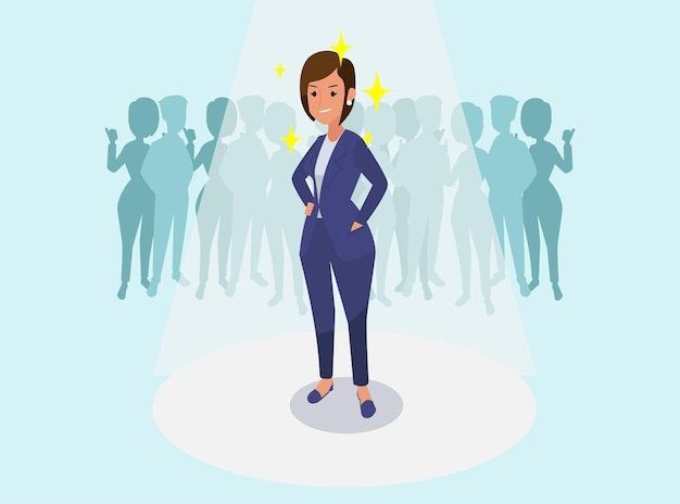 Successful business woman, congratulating business colleagues illustration