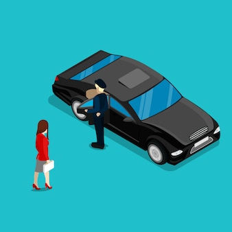 Successful business woman near luxury car. isometric people. vector illustration