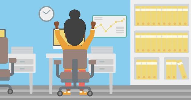 Успешный бизнес женщина векторные иллюстрации.