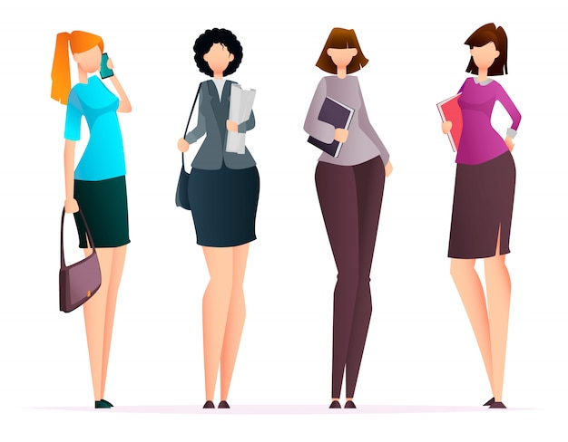 Successful business women, set of four poses